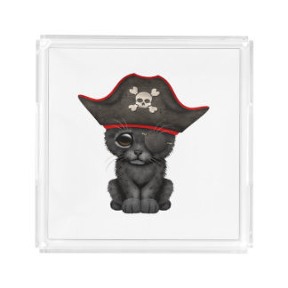 Cute Baby Black Panther Cub Pirate Acrylic Tray