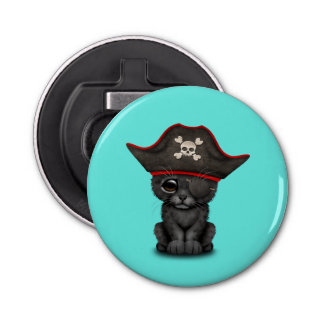 Cute Baby Black Panther Cub Pirate Button Bottle Opener
