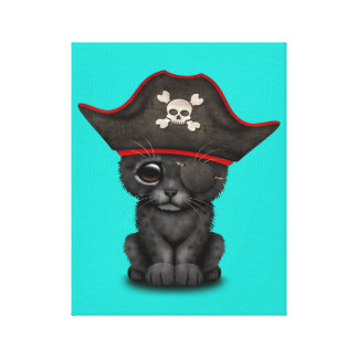 Cute Baby Black Panther Cub Pirate Canvas Print