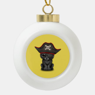 Cute Baby Black Panther Cub Pirate Ceramic Ball Christmas Ornament