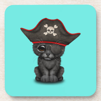 Cute Baby Black Panther Cub Pirate Coaster