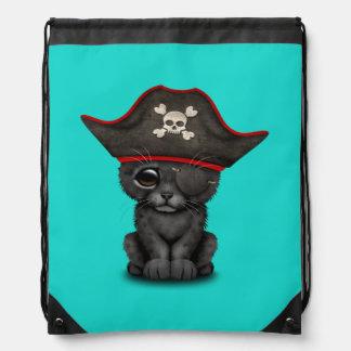 Cute Baby Black Panther Cub Pirate Drawstring Bag