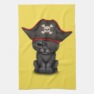 Cute Baby Black Panther Cub Pirate Hand Towels