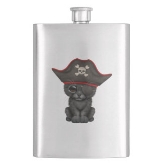 Cute Baby Black Panther Cub Pirate Hip Flask