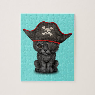 Cute Baby Black Panther Cub Pirate Jigsaw Puzzle
