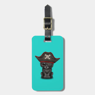 Cute Baby Black Panther Cub Pirate Luggage Tag