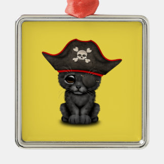 Cute Baby Black Panther Cub Pirate Metal Ornament