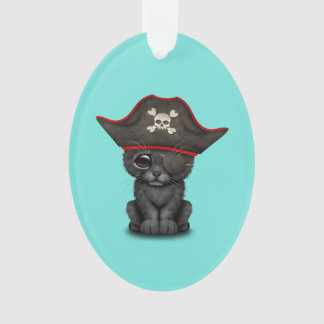 Cute Baby Black Panther Cub Pirate Ornament