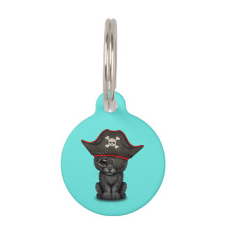 Cute Baby Black Panther Cub Pirate Pet ID Tag