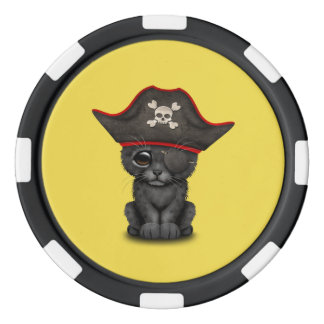 Cute Baby Black Panther Cub Pirate Poker Chips
