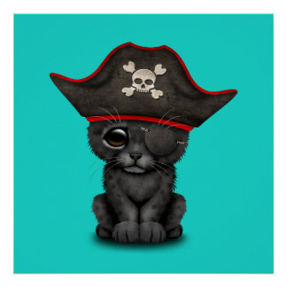 Cute Baby Black Panther Cub Pirate Poster