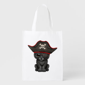 Cute Baby Black Panther Cub Pirate Reusable Grocery Bag