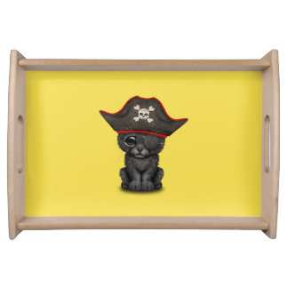 Cute Baby Black Panther Cub Pirate Serving Tray