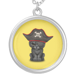 Cute Baby Black Panther Cub Pirate Silver Plated Necklace