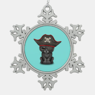 Cute Baby Black Panther Cub Pirate Snowflake Pewter Christmas Ornament