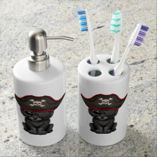 Cute Baby Black Panther Cub Pirate Soap Dispenser And Toothbrush Holder