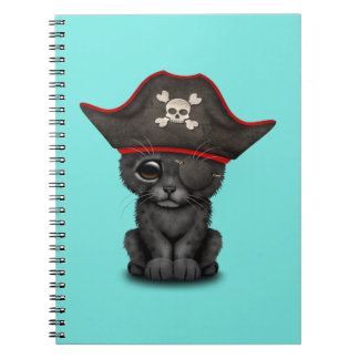 Cute Baby Black Panther Cub Pirate Spiral Notebooks