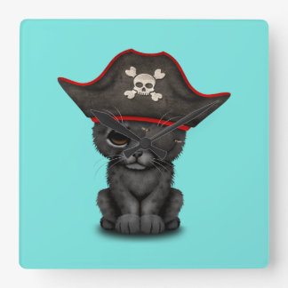 Cute Baby Black Panther Cub Pirate Square Wall Clock
