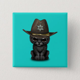 Cute Baby Black Panther Cub Sheriff 2 Inch Square Button
