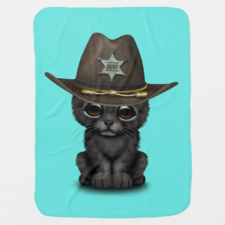 Cute Baby Black Panther Cub Sheriff Baby Blanket