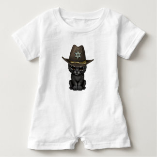 Cute Baby Black Panther Cub Sheriff Baby Romper