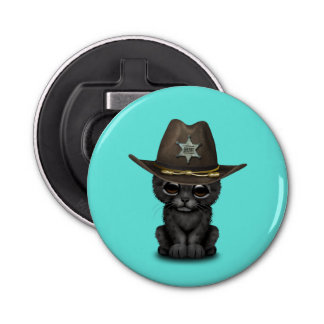 Cute Baby Black Panther Cub Sheriff Button Bottle Opener