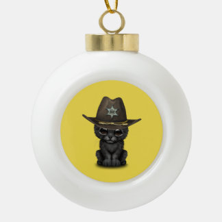Cute Baby Black Panther Cub Sheriff Ceramic Ball Christmas Ornament