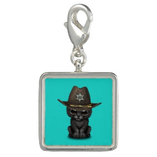 Cute Baby Black Panther Cub Sheriff Charm