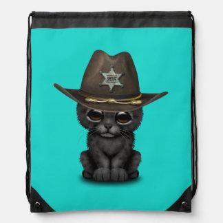 Cute Baby Black Panther Cub Sheriff Drawstring Bag
