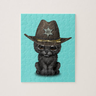 Cute Baby Black Panther Cub Sheriff Jigsaw Puzzle