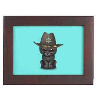 Cute Baby Black Panther Cub Sheriff Keepsake Box