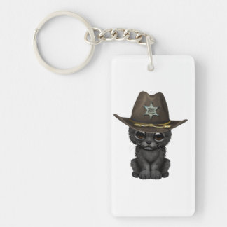 Cute Baby Black Panther Cub Sheriff Keychain