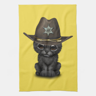 Cute Baby Black Panther Cub Sheriff Kitchen Towel