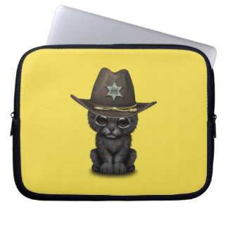Cute Baby Black Panther Cub Sheriff Laptop Sleeve