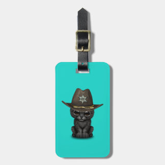 Cute Baby Black Panther Cub Sheriff Luggage Tag