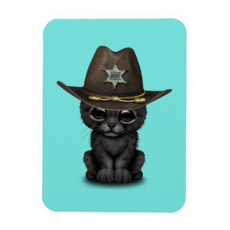 Cute Baby Black Panther Cub Sheriff Magnet