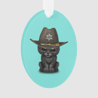Cute Baby Black Panther Cub Sheriff Ornament