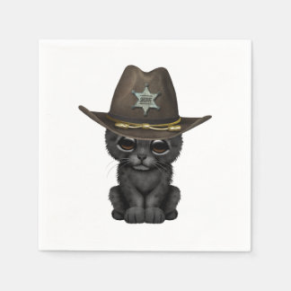 Cute Baby Black Panther Cub Sheriff Paper Napkin