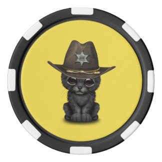 Cute Baby Black Panther Cub Sheriff Poker Chips