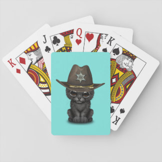 Cute Baby Black Panther Cub Sheriff Poker Deck
