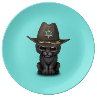 Cute Baby Black Panther Cub Sheriff Porcelain Plates