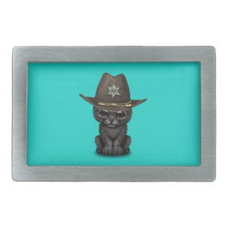 Cute Baby Black Panther Cub Sheriff Rectangular Belt Buckle
