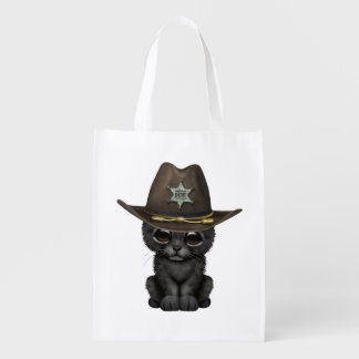 Cute Baby Black Panther Cub Sheriff Reusable Grocery Bag