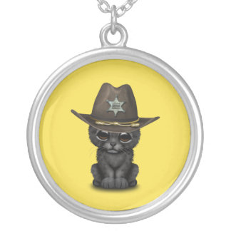 Cute Baby Black Panther Cub Sheriff Silver Plated Necklace