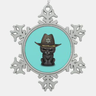 Cute Baby Black Panther Cub Sheriff Snowflake Pewter Christmas Ornament