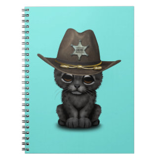 Cute Baby Black Panther Cub Sheriff Spiral Note Book