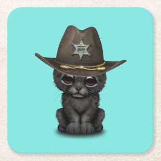 Cute Baby Black Panther Cub Sheriff Square Paper Coaster