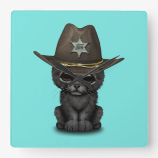 Cute Baby Black Panther Cub Sheriff Square Wall Clock