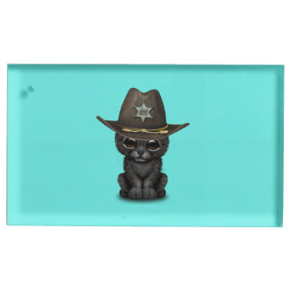 Cute Baby Black Panther Cub Sheriff Table Card Holders