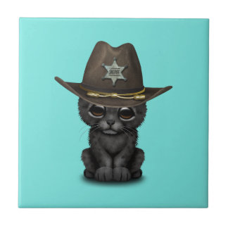 Cute Baby Black Panther Cub Sheriff Tile